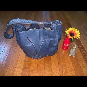 Banana Republic blue leather cinch bucket bag